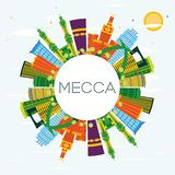 Mecca City Skyline avec les bâtiments de couleur, le ciel bleu et l'espace de copie illustration libre de droits