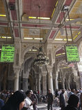 MECCA-FEB.23: Green signage inside Masjidil Haram denotes the be Royalty Free Stock Image