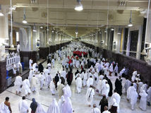 MECCA-FEB.26: Muslim pilgrims perform saei� (brisk walking) fr Royalty Free Stock Image
