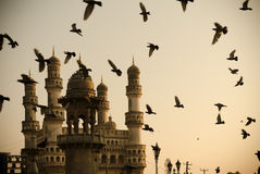 Mecca masjid and charminar, Hyderabad india. Pigeon flying before morning prayers at the Mecca Masjid, Hyderabad on 4 February 2014 Royalty Free Stock Photography