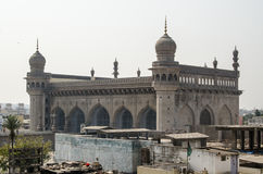 Mecca Masjid Mosque, Hyderabad. View from Charminar tower of the large Mecca Masjid mosque in Hyderabad, India. One of the largest mosques in India it was royalty free stock photography