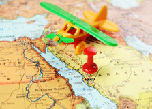 Mecca,Saudi Arabia airplane  map Stock Images