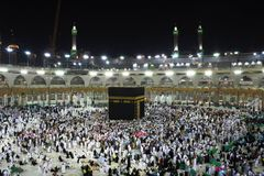 Holy Kabba Mecca. Mecca Saudi Arabia - March 02 2017: Muslim all around the world  visit to holy mosque Kabba, Mecca during Hajj in Saudi Arabia Stock Image