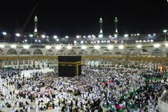 Holy Kabba Mecca. Mecca Saudi Arabia - March 02 2017: Muslim all around the world  visit to holy mosque Kabba, Mecca during Hajj in Saudi Arabia Royalty Free Stock Image