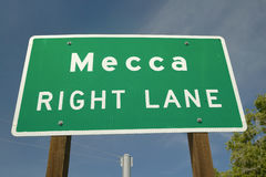 Mecca sign. A road sign announcing you are in Mecca CA Stock Photo
