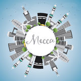 Mecca Skyline with Landmarks, Blue Sky and Reflection. Royalty Free Stock Photos
