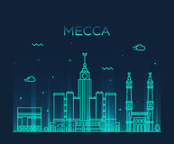 Mecca skyline Trendy vector illustration linear Royalty Free Stock Images