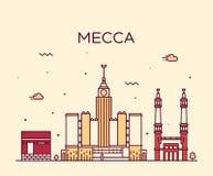 Mecca skyline Trendy vector illustration linear Stock Image