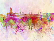 Mecca skyline in watercolor background Royalty Free Stock Image