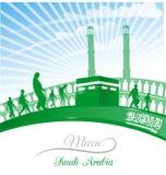 Mecca symbol with arabia saudi flag Royalty Free Stock Photography