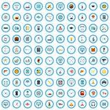 100 meccanici che costruiscono l'insieme delle icone, stile piano illustrazione di stock