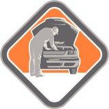 Meccanico automobilistico Car Repair Woodcut royalty illustrazione gratis
