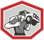 Meccanico automobilistico Carrying Pick-Up Truck illustrazione di stock