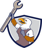 Meccanico Bald Eagle Spanner Crest Cartoon Fotografia Stock Libera da Diritti