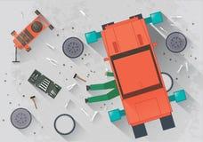Meccanico che ripara l'automobile nel garage illustrazione vettoriale