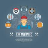 Meccanico di automobile Concept Icons Fotografie Stock