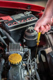 Meccanico di automobile nel servizio di riparazione automatica che controlla olio Immagine Stock