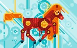 Meccanico Horse Abstract Concept illustrazione di stock
