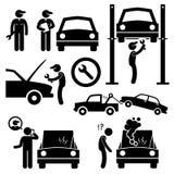 Meccanico Icons del gruppo di lavoro di servizi di riparazione dell'automobile Fotografia Stock Libera da Diritti
