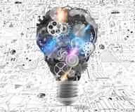 Meccanismi della lampadina degli ingranaggi rappresentazione 3d Immagini Stock