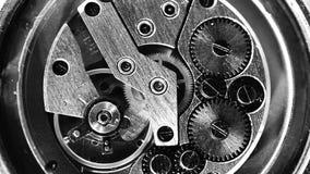 Meccanismo d'annata dell'orologio che lavora macro in bianco e nero stock footage