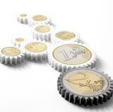 Meccanismo degli ingranaggi con le euro monete Fotografie Stock