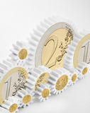 Meccanismo degli ingranaggi con le euro monete Fotografia Stock Libera da Diritti