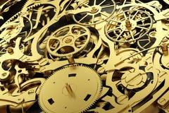Meccanismo dell'oro, movimento a orologeria con le attrezzature di lavoro Fotografia Stock Libera da Diritti