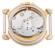Meccanismo dell'orologio di quarzo in vecchio orologio dorato Fotografie Stock Libere da Diritti