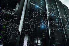 Meccanismo di ingranaggi, trasformazione digitale, integrazione di dati e concetto di tecnologia digitale immagine stock