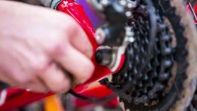 Meccanismo di ingranaggio di Person Cleaning Frame At Bicycle archivi video