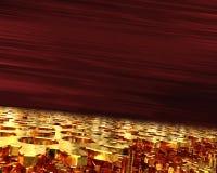 Meccanismo di ingranaggio dorato, allungante nel futuro su un fondo rosso scuro illustrazione 3D Fotografie Stock Libere da Diritti