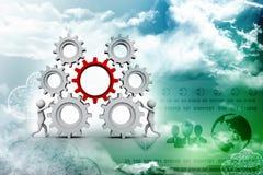 Meccanismo di ingranaggio e dell'uomo d'affari, Team Work Concept 3d rendono illustrazione vettoriale
