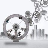 meccanismo di lavoro di squadra della rappresentazione 3D Fotografie Stock