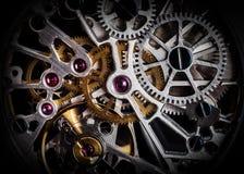Meccanismo, movimento a orologeria di un orologio con i gioielli, primo piano Lusso d'annata Fotografie Stock