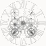 Meccanismo trasparente dell'orologio Fotografie Stock Libere da Diritti