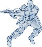 Mecha Robot Warrior With Ray Gun Royalty Free Stock Photos
