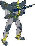 Mecha-Roboter, der Ray Gun Isolated hält Lizenzfreies Stockfoto
