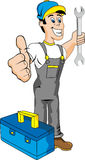 Mechanic. Cartoon mechanic with tools. Isolated Royalty Free Stock Images
