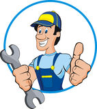 Mechanic. Cartoon mechanic with tools. Isolated Stock Photos