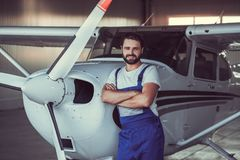 Mechanic and aircraft Royalty Free Stock Photography