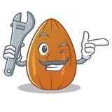 Mechanic almond nut character cartoon Royalty Free Stock Images