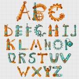 Mechanic Alphabet Colored. Mechanic alphabet clockwork mechanism letters colored set on squared background vector illustration Stock Photo