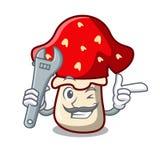Mechanic amanita mushroom mascot cartoon Royalty Free Stock Image