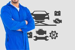 Mechanic with arm crossed against car icons. Digital composite of mechanic with arm crossed against car icons Stock Image