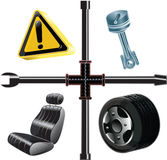 Mechanic auto icons. Mechainc auto icons vector. Editable art Royalty Free Stock Photo