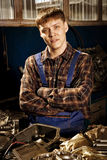Mechanic. Auto repair service. Photo in retro style Royalty Free Stock Images