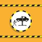Mechanic in automotive service. Vector icon. Black and white vector icon with shadow on orange background. Conditional graphic representation Royalty Free Stock Photo