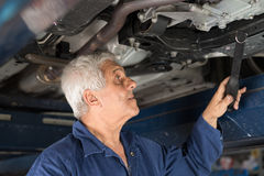Mechanic in an automotive workshop Royalty Free Stock Photo