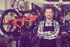 Mechanic in bicycles store workshop Royalty Free Stock Image